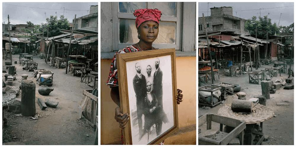 Léonce Raphael Agbodjelou (nacido en 1965, Benin), Tríptico sin título (serie Demoiselles de Porto-Novo), 2012. C-print 150 × 100cm (cada uno). Estimación: 8.000 / 12.000 €