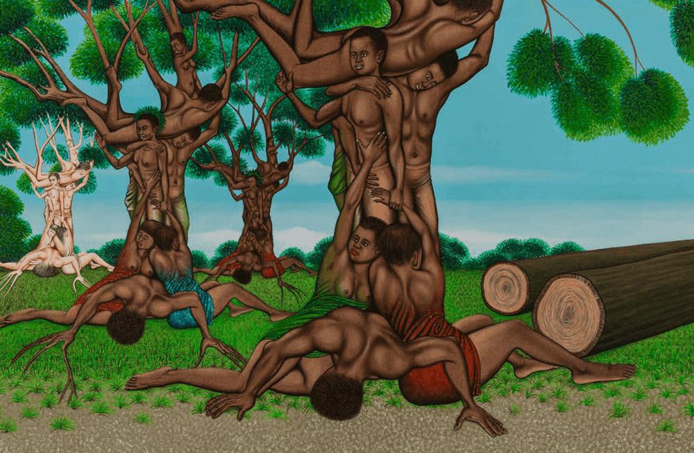 Chéri Samba, (born in 1956, Democratic Republic of Congo) L'attachement aux racines, 2010. Acrylic and glitter on canvas, 135 × 200cm. Estimate: 60.000 / 80.000€