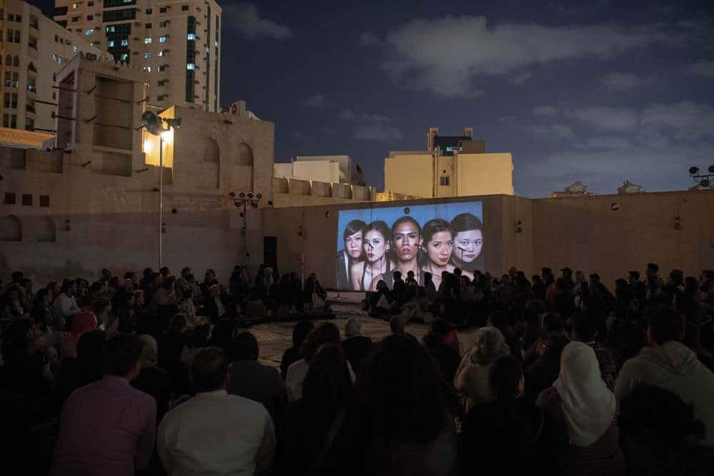 The Filipino Superwoman Band, 2019. Performance by Eisa Jocson. Performance view: Sharjah Biennale 14: 'Leaving the Echo Chamber'. Courtesy of Sharjah Art Foundation