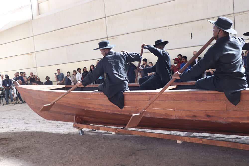 Mohau Modisaking, Land of Zanj, 2019. Performance view: Sharjah Biennial 14: 'Leaving the Echo Chamber'. Courtesy of Sharjah Art Foundation.