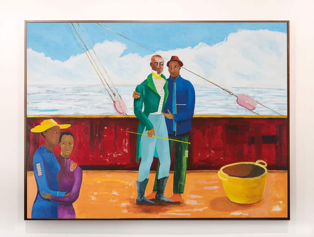 Lubaina Himid, Memorial to Zong, 1991. Acrylic on canvas, 152.4 x 121.92 x 4.5 cm. Installation view: Sharjah Biennale 14: 'Leaving the Echo Chamber'. Courtesy of the artist and Hollybush Gardens, London. Courtesy of Sharjah Art Foundation