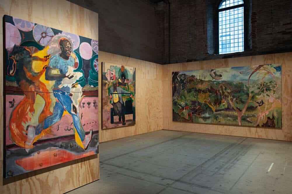 Michael Armitage, Various works, 2019. Oil on Lubugo bark. Photographer: Andrea Avezzù. Courtesy of La Biennale di Venezia.