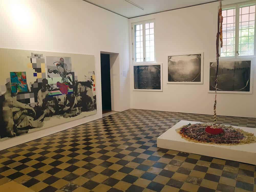 Installation view of Zimbabwe Pavilion; (from left-right) Kudzanai-Violet Hwami, Neville Sterling & Georgina Maxim.