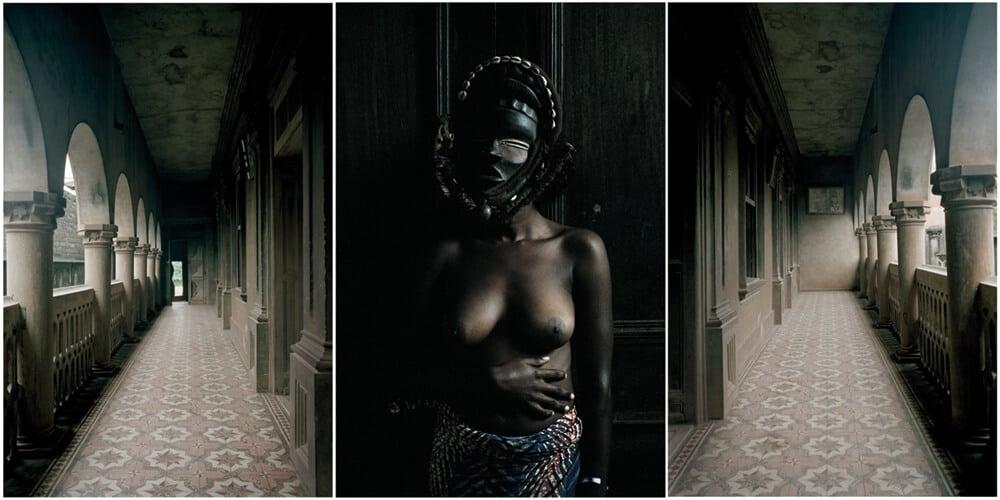 Leonce Raphael Agbodjélou, tríptico sin título de la serie Demoiselles de PortoNovo, 2012. Impresión en C, 100 x 150 cm. Cortesía de Jack Bell Gallery, Londres 35.