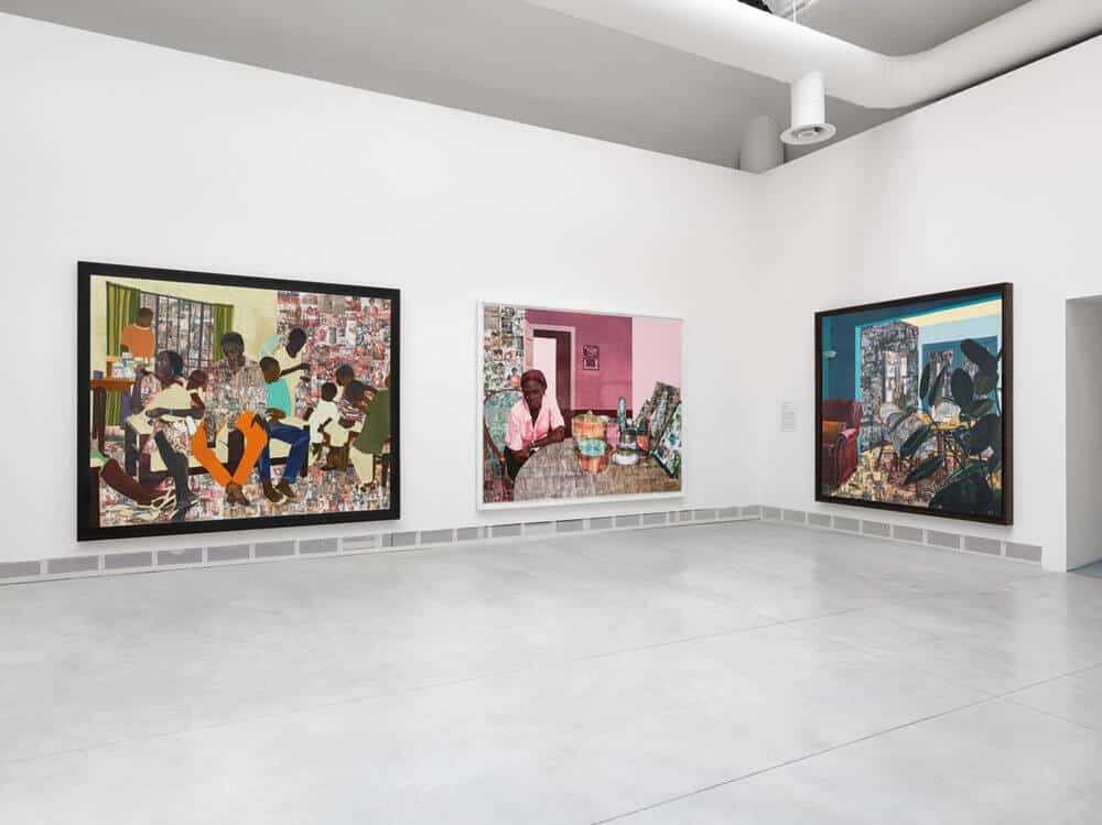 Njideka Akunyili Crosby, Various works, 2012-2017. Mixed media. Courtesy the artist, Victoria Miro, and David Zwirner.
