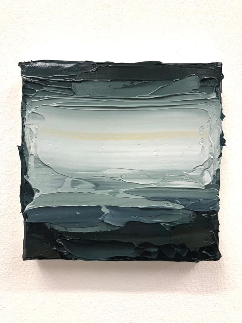 Jake Aikman, South Atlantic View III, 2019. Öl auf Leinwand 15 x 15 cm.
