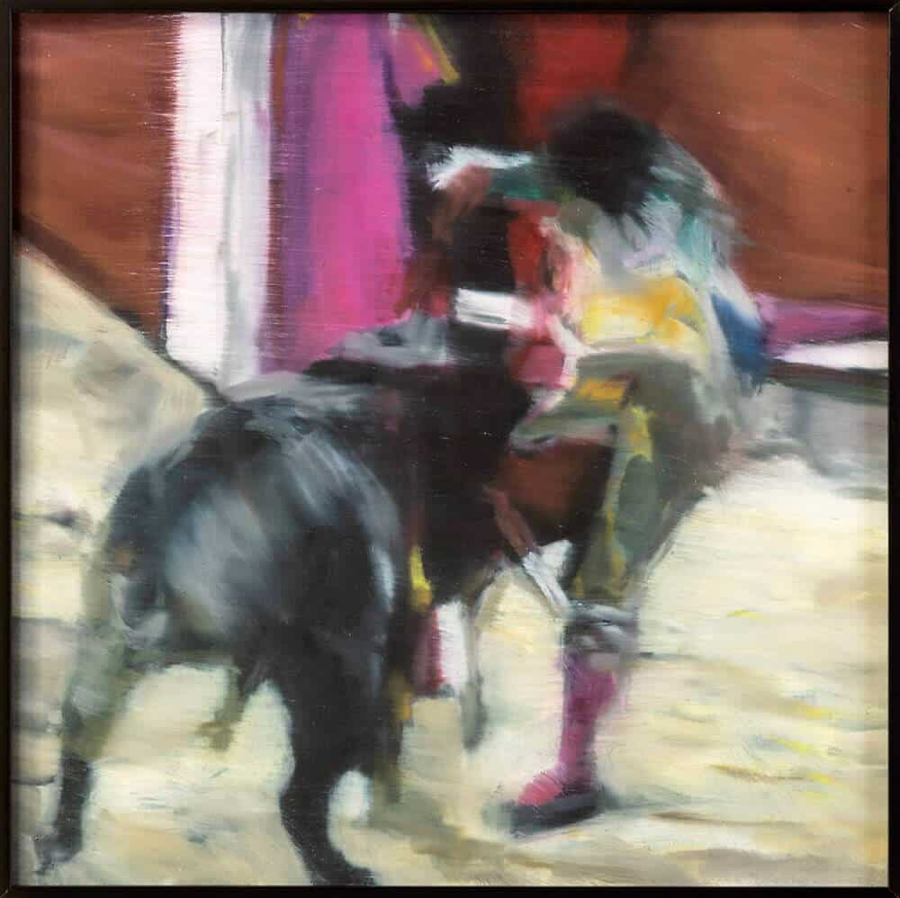 Katherine Bull, Bull Fighter, 2019. Oil on board, 31 x 31cm.