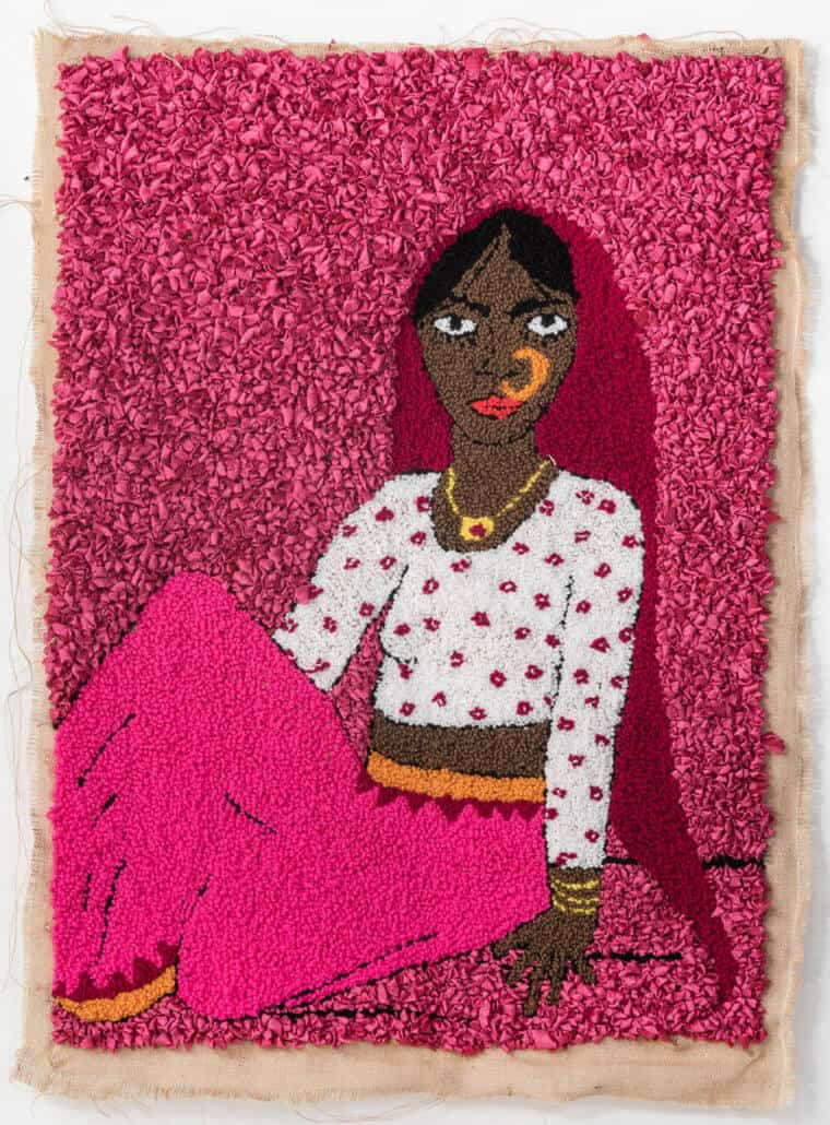 Talia Ramkilawan, Untitled IV, 2019. Wool, cloth and Hessian, 91 x 68cm.