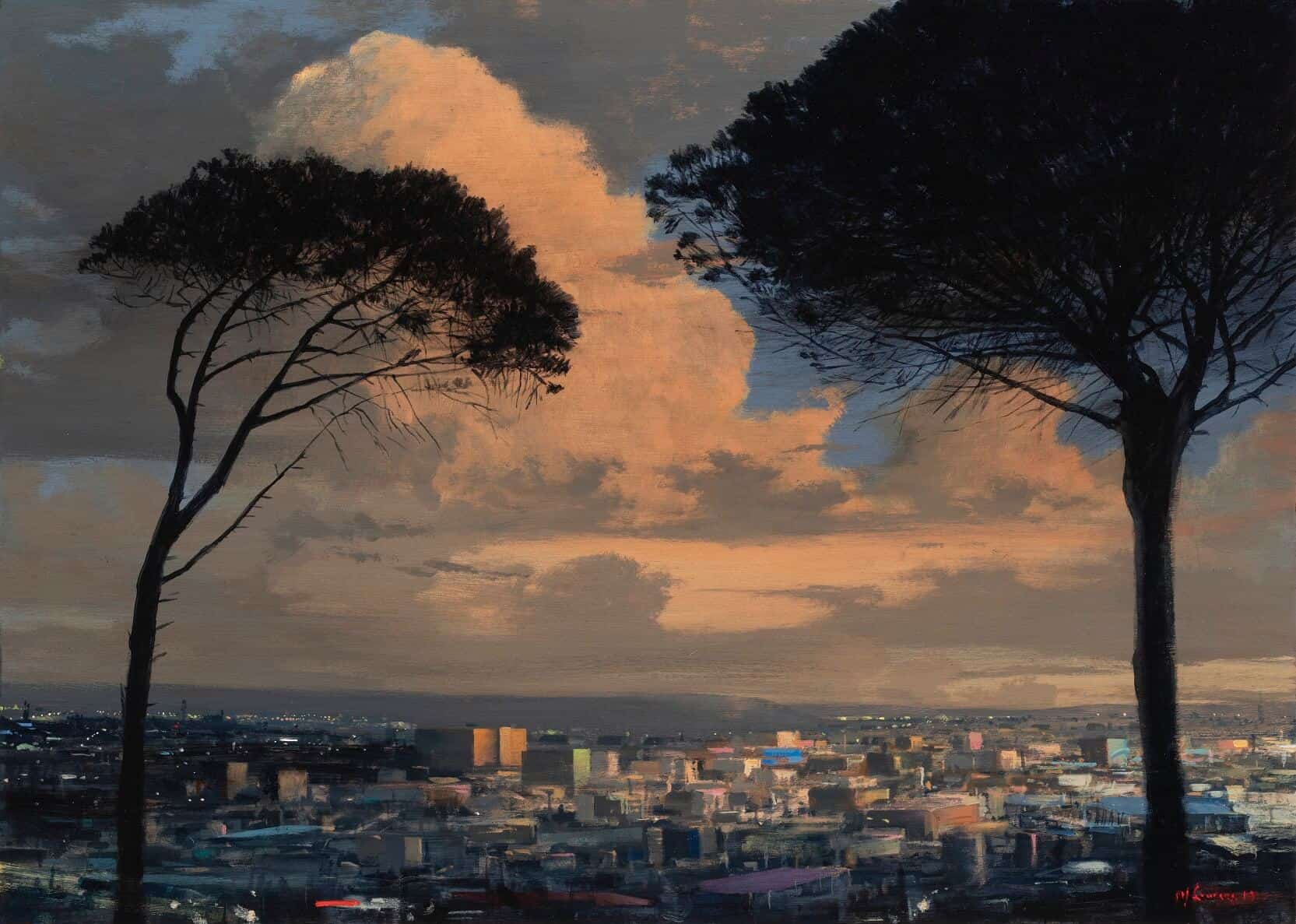 MJ Lourens, Longing through the trees, 2019. Acrylic on board, 500 x 700cm. Courtesy of the artist & La Motte Museum.