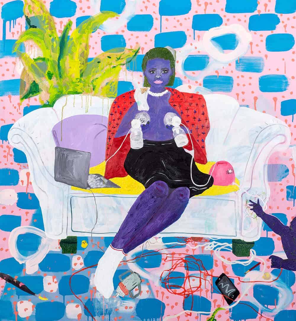 Grace Cross, La mano que mece la cuna gobierna el mundo, 2019. Óleo y acrílico sobre lienzo, 120 x 112cm. Todas las imágenes son cortesía del artista y SMITH.