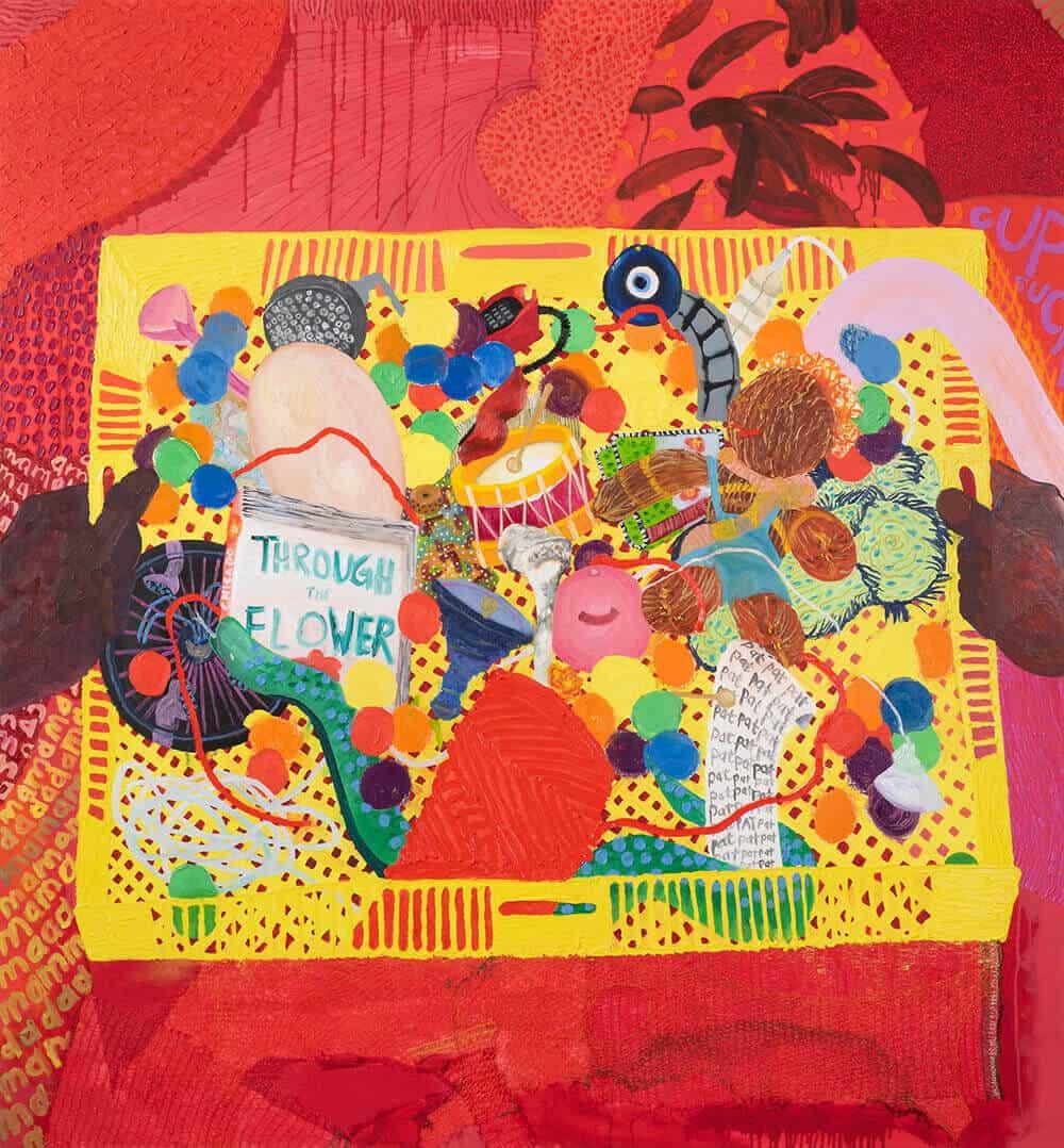 Grace Cross, Her Playthings (la madre de la invención), 2019. Material de aplicación, óleo y acrílico sobre lienzo, 160 x 150 cm.