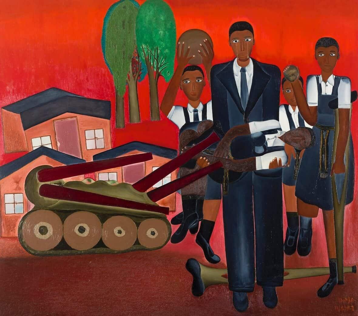 """Alfred Thoba, """"1976 Riots"""", firmato e datato 13-8-87. Immagine per gentile concessione di Kalashnikovv Gallery e FNB Art Joburg."""