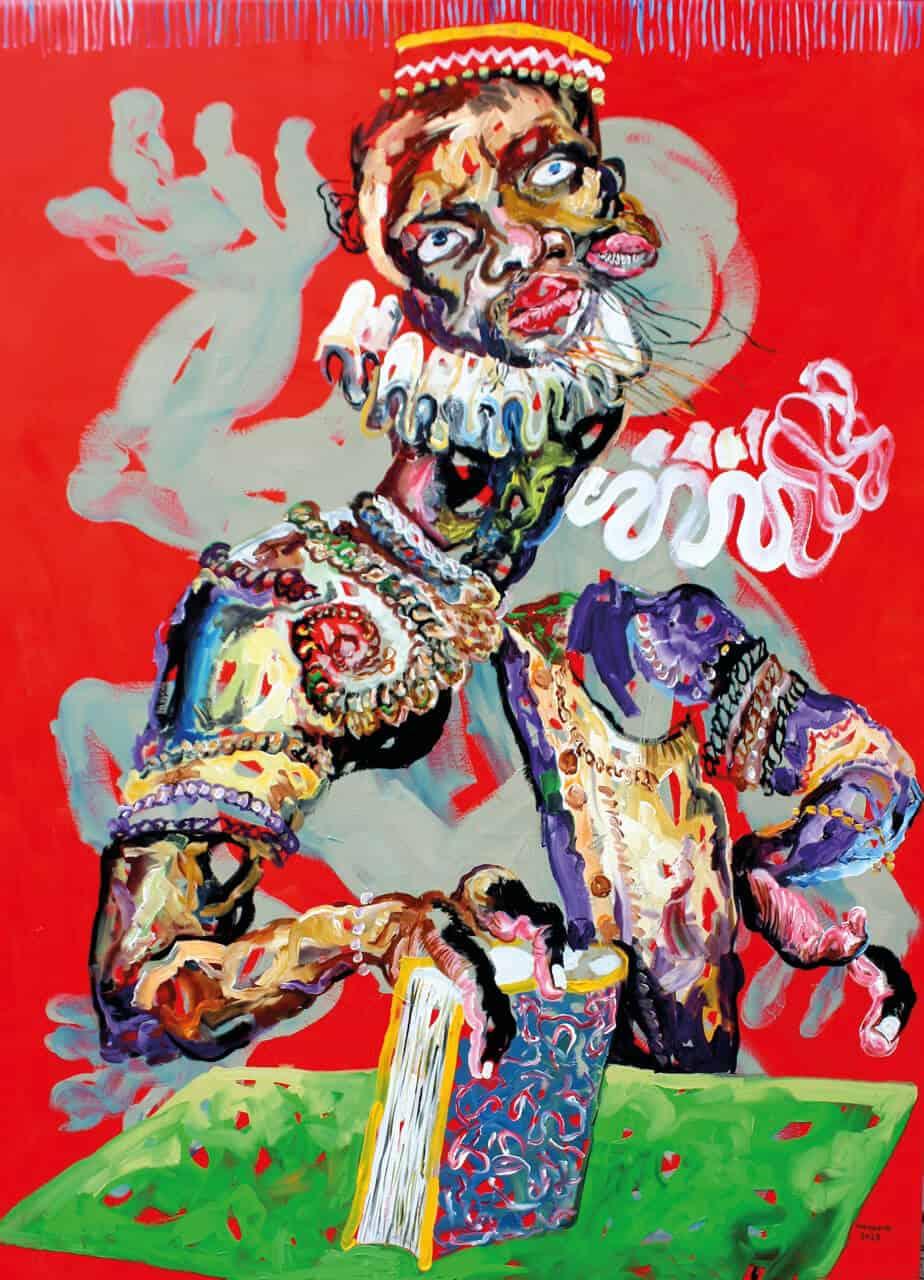 Cristiano Mangovo, Uanhenga Xito. Olio su tela, 160 x 120 cm. Immagine per gentile concessione dell'artista e This Is Not a White Cube.