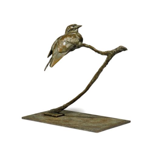 Dylan Lewis, Glossy Starling II, 2002. Escultura de bronce, 30.5 x 32.5 x 17.7 cm. Imagen cortesía del artista y Christie's.