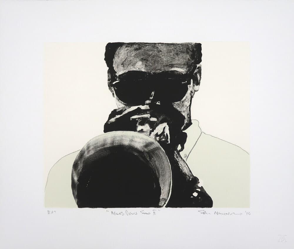 Miles Davis Solo II, 2010. Litografia bicolore Chine Collé, 38 x 45 cm. Dimensione edizione: 25.