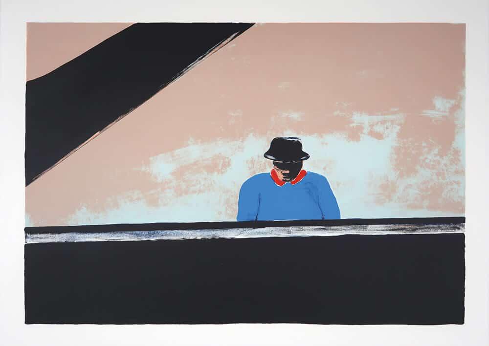 Ode a Thelonius Monk, 2002. Litografia a cinque colori, 76 x 106 cm. Dimensione edizione: 50.