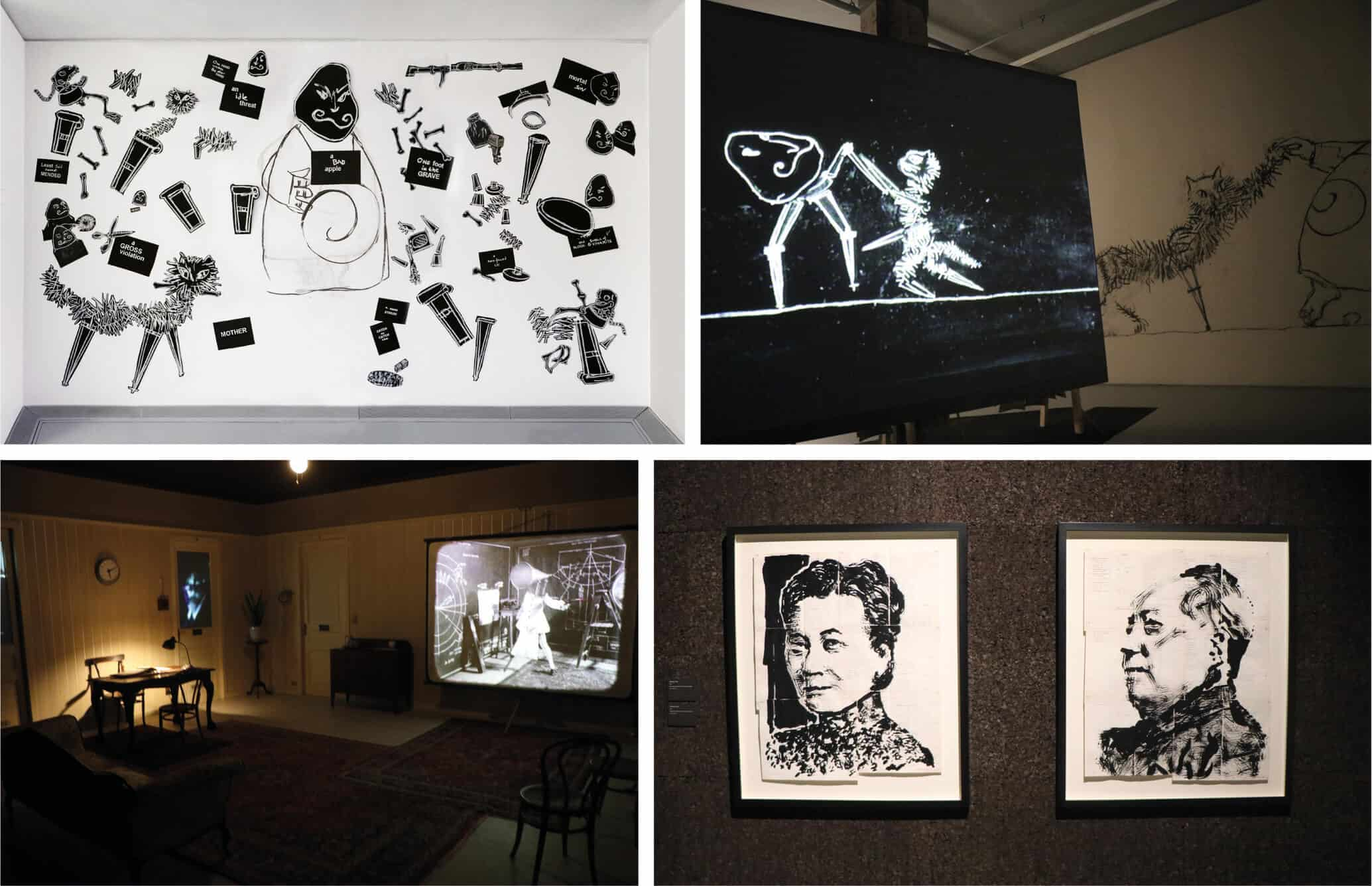 Wall drawings in 'Ubu Tells The Truth' room at Zeitz MOCAA. © Brendon Bell-Roberts & ART AFRICA. Installation view of Ubu Tells The Truth, 1997, at Zeitz MOCAA. © Brendon Bell-Roberts & ART AFRICA. Installation view of Untitled (Madame Mao), Indian ink on found pages, 90,5 x 74cm (left). Untitled (Chairman Mao), 2016. Indian ink on found pages, 91,5 x 7cm (right). © Brendon Bell-Roberts & ART AFRICA. Installation view of O Sentimental Machine, 2015, at Zeitz MOCAA. © Brendon Bell-Roberts & ART AFRICA