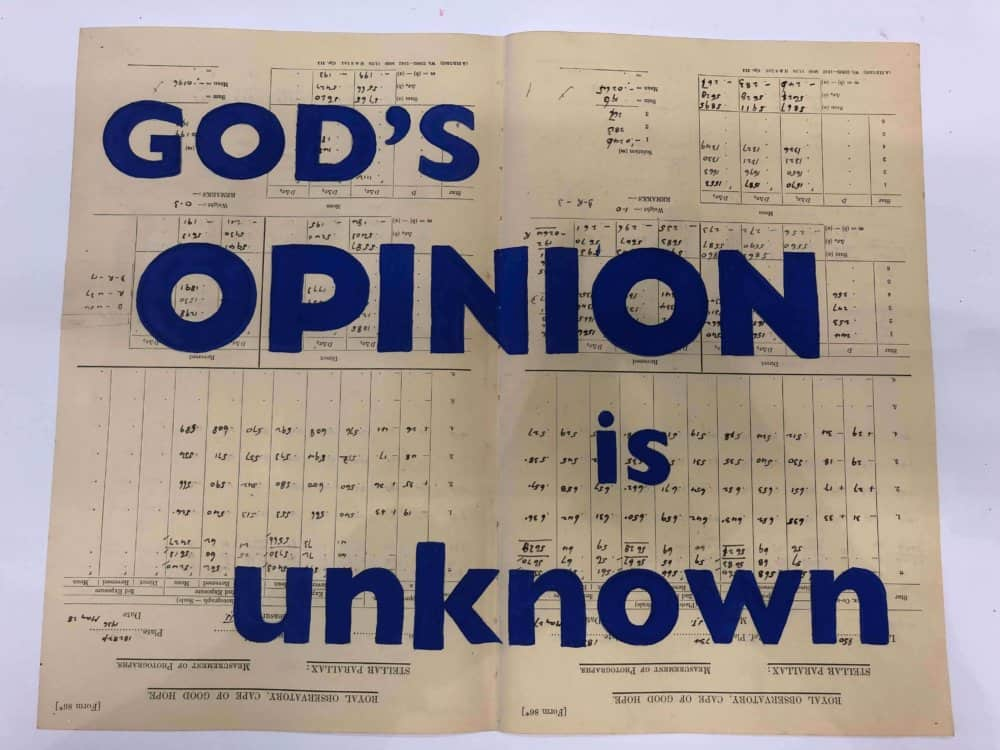 William Kentridge, God's Opinion is Unknown. Courtesy of the artist & Lawyers Against Abuse.
