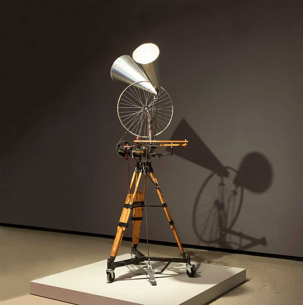 Bicycle Wheel (double megaphone), 2012. Steel, timbre, brass, aliminium, bicycle parts & found objects, 195 x 46 x 43,5cm. Technical design and construction by Chris Waldo de Wet and Christoff Wolmarans. © Brendon Bell-Roberts & ART AFRICA.