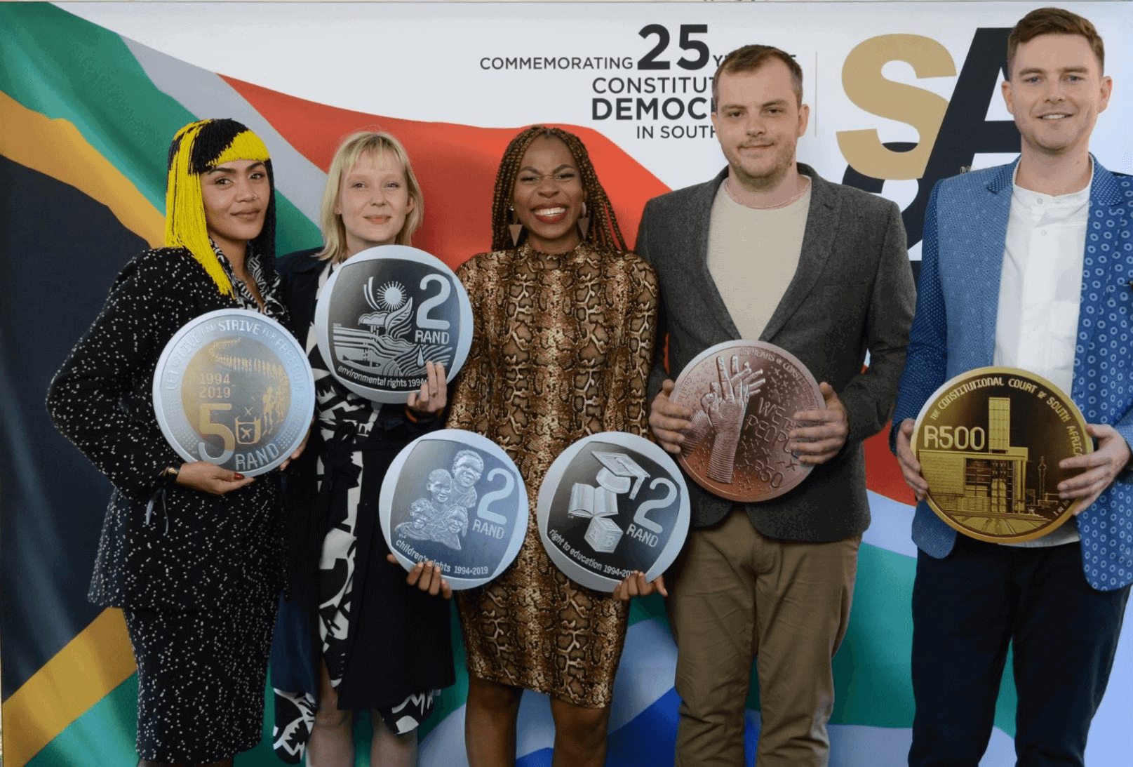The artists with the coins they designed at the media launch of the SA25 – Celebrating South Africa (left - right), Lady Skollie, Maaike Bakker, Neo Mahlangu, Peter Mammes, Shaun Gaylard.
