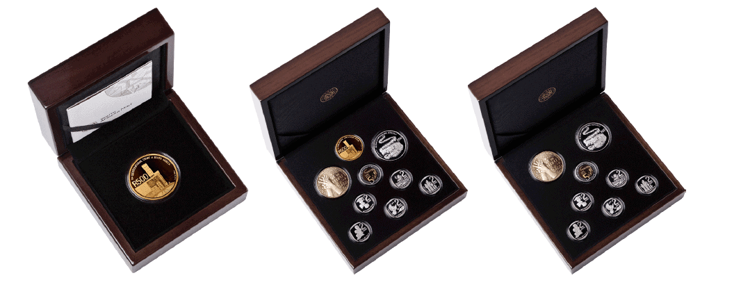 Single Gold Coin' SA25 commemorative coin sets. Limited Edition of 125 sets. Includes: 1 x R500 24ct Gold Proof Coin. '9-Coin set' SA25 commemorative coin set. Limited Edition of 225 sets. Includes: 1 x R500 24ct Gold Proof Coin, 1 x R50 Sterling-Silver Proof Coin, 1 x R50 Bronze Alloy Proof Coin, 1 x R5 Circulation Proof-Quality Coin, 5 x R2 Circulation Proof-quality Coin. '8-Coin set' SA25 commemorative coin sets. Limited Edition of 2250 sets. Includes: 1 x R50 Sterling-Silver Proof Coin, 1 x R50 Bronze Alloy Proof Coin, 1 x R5 Circulation Proof-Quality Coin, 5 x R2 Circulation Proof-quality Coin.