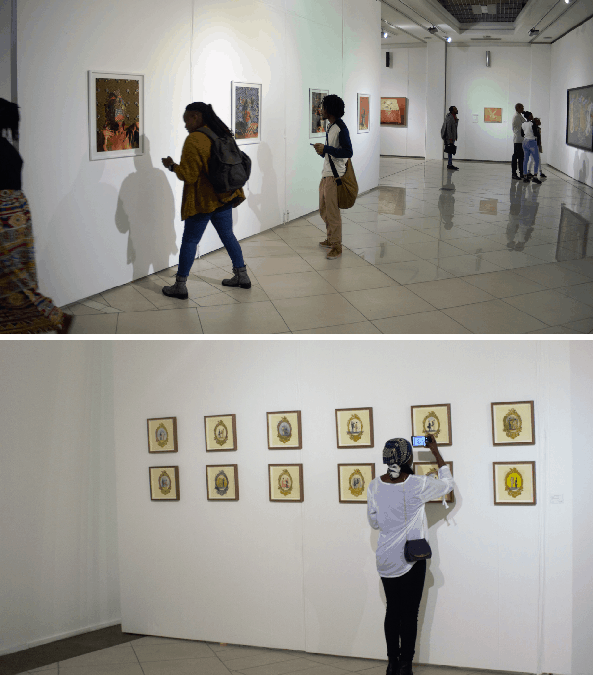 TOP TO BOTTOM: Visitors view the works at the Unisa Art Gallery. Gallery visitor viewing Ann Gollifer's work, Fairytales I - XII (2017). Set of 12-Each unique. Watercolour and monoprint on paper, 22.5 x 22.5cm (each).