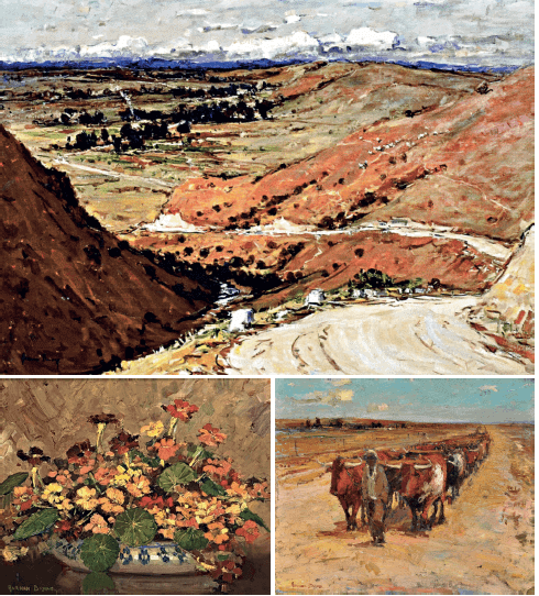 CLOCKWISE FROM TOP: The Road to Calvinia. Oil on canvas, 17,4 x 15cm. Die Touleier. Oil on board, 76,5 x 92cm. Nasturtiums in a Bowl. Oil on canvas laid down on board, 40 x 50cm. All images courtesy of the Adriaan Boshoff Museum.
