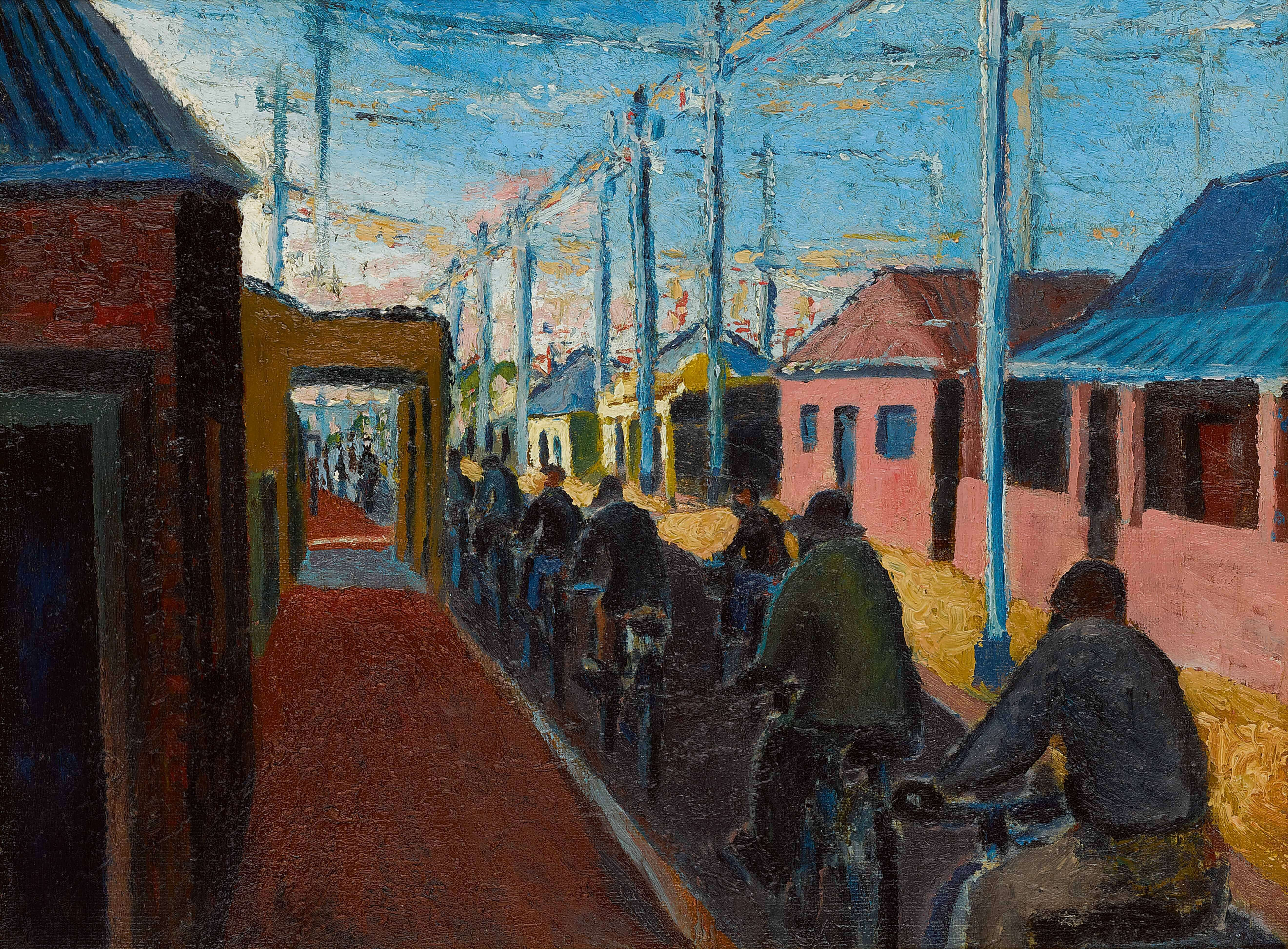 Gerard Sekoto, Cyclists in Sophiatown, 1940.