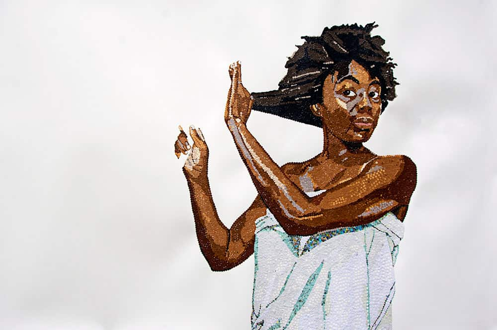 Ngozi Schommers, Self Portrait. Perforated paper on watercolour paper 100 x 150cm. Courtesy of the artist.