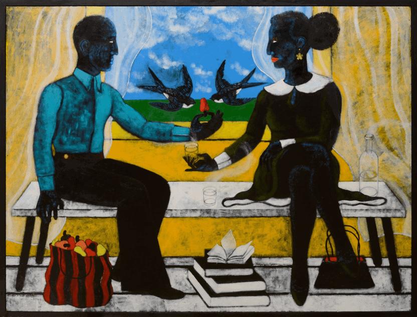Abe Odedina, Liebesspiel, 2018, Acryl auf Sperrholz, 115 x 112.7 cm. Bild mit freundlicher Genehmigung des Künstlers und Ed Cross Fine Art.