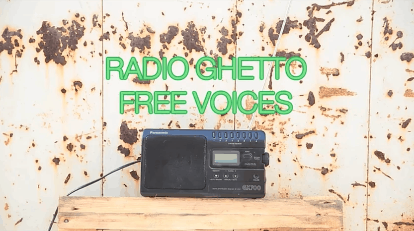 Alessandra Ferrini, Still from Radio Ghetto Relay, 2016. Video.