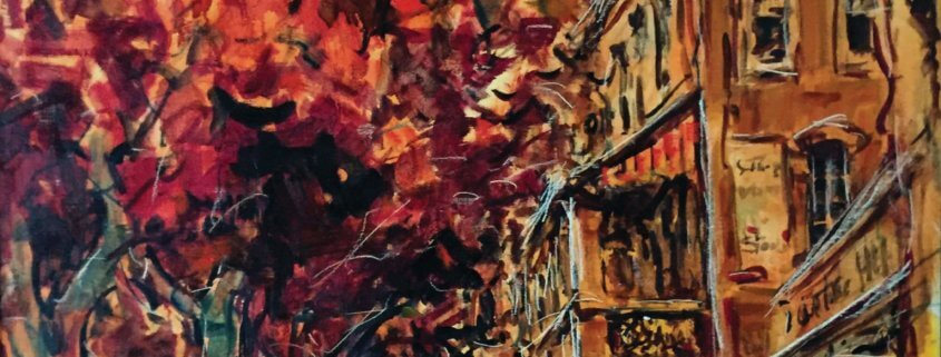 Streets of My Youth, 2017. Mixed medium on canvas laid down on board, 24 x 55cm.