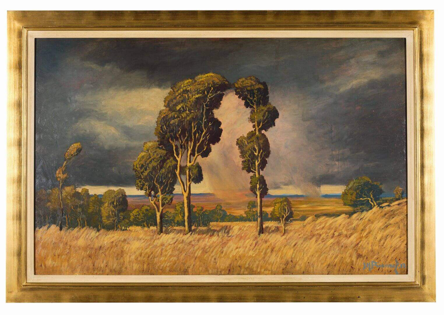 "Jacob Hendrik Pierneef, Summer Rain in the Bushveld, signed and dated ""18""."