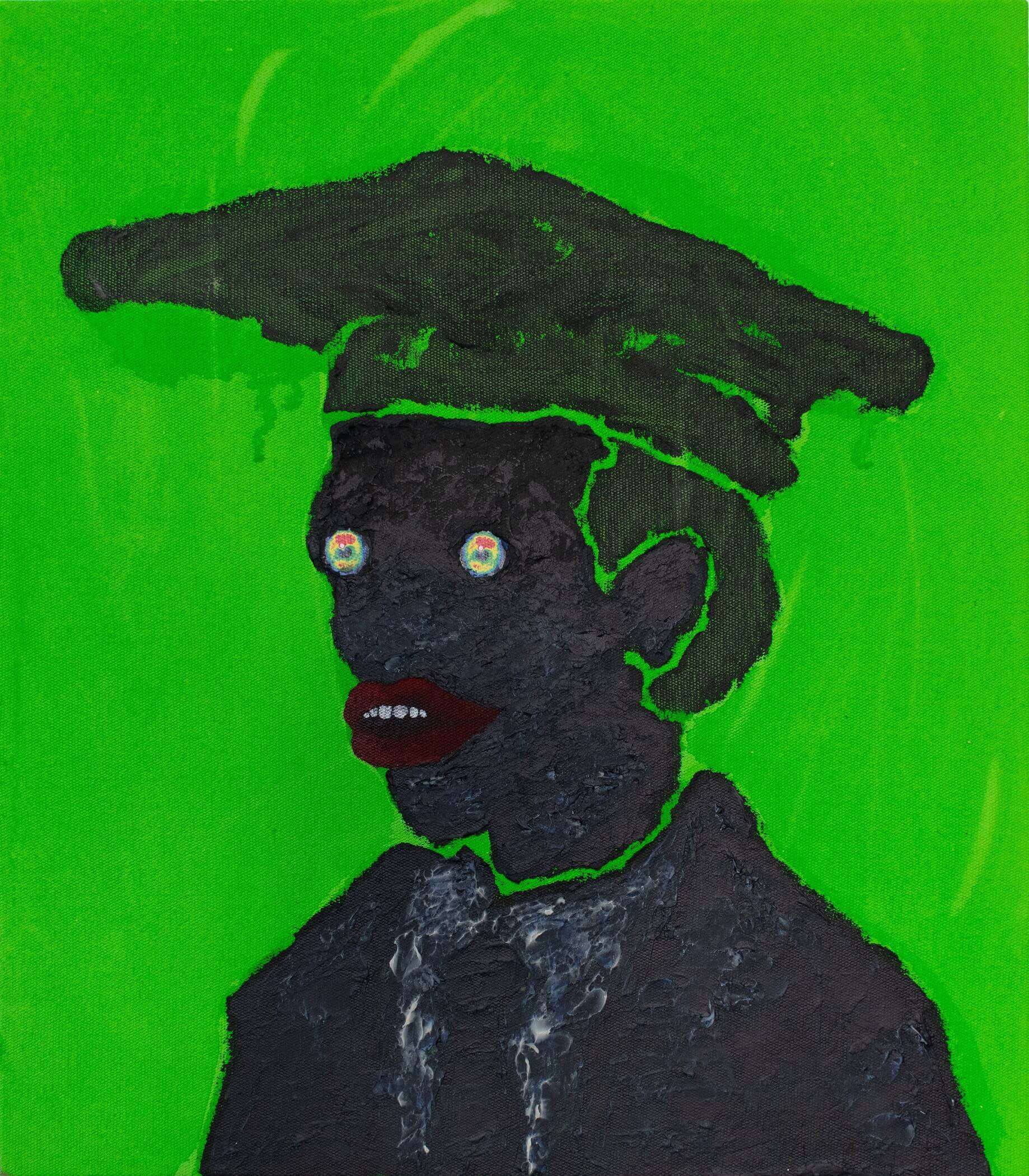 Thebe Phetogo, Conspicuous Fraud in Otjikaiva, 2019. Shoe polish collage and acrylic on canvas, 35,8 x 40,5cm.