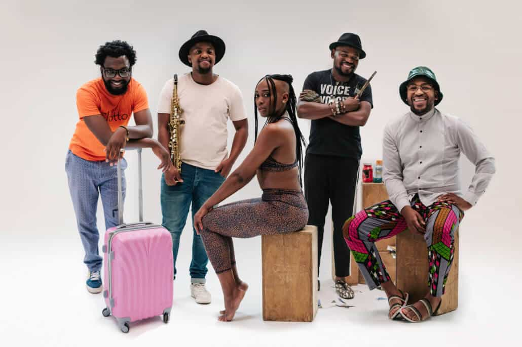 The 2020 Standard Bank Young Artists (left to right) Jefferson Tshabalala (Theatre), Sisonke Xonti (Jazz), Lulu Mlangeni (Dance), Blessing Ngobeni (Visual Art) and Nthatho Mokgata (Music)