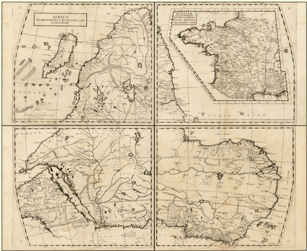 The map published of the African continent orientated South. Published in Della descrittione dell'Africa et delle cose notabili che iui sono, 1660.