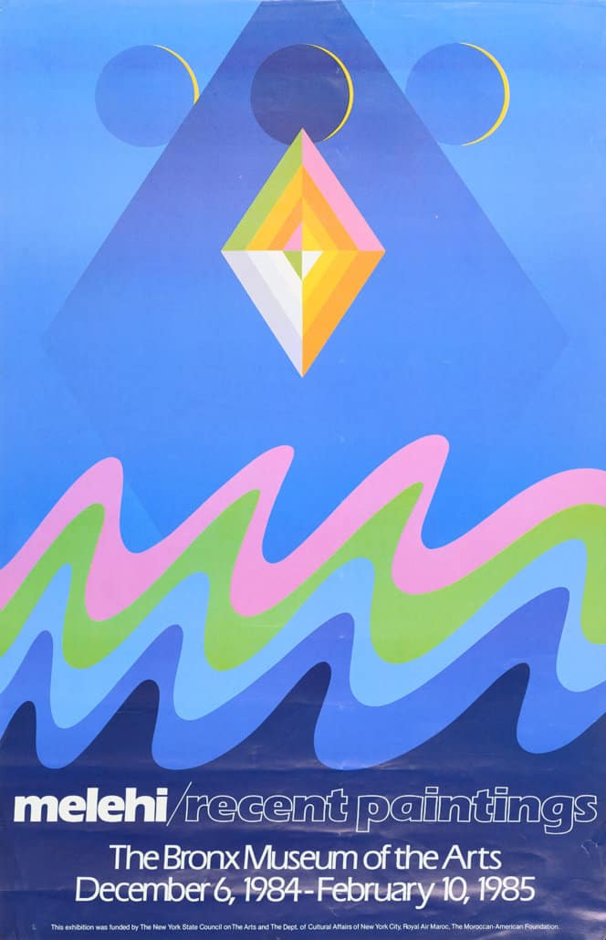 Cartaz da exposição M. Melehi. Pinturas recentes, Museu de Artes do Bronx, 1984-1985. Arquivos Toni Maraini
