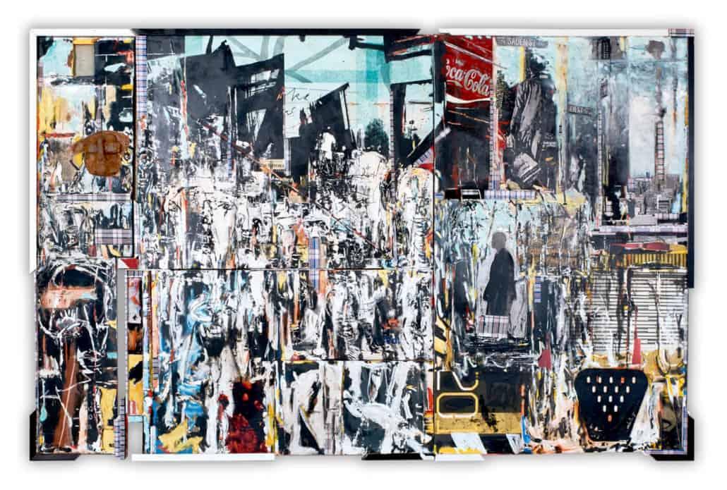 Kagiso Patrick Mautloa, Urban Vibes (City Buzz) (2018), Mixed media on board, 350 x 200 cm, Image courtesy of the Bag Factory