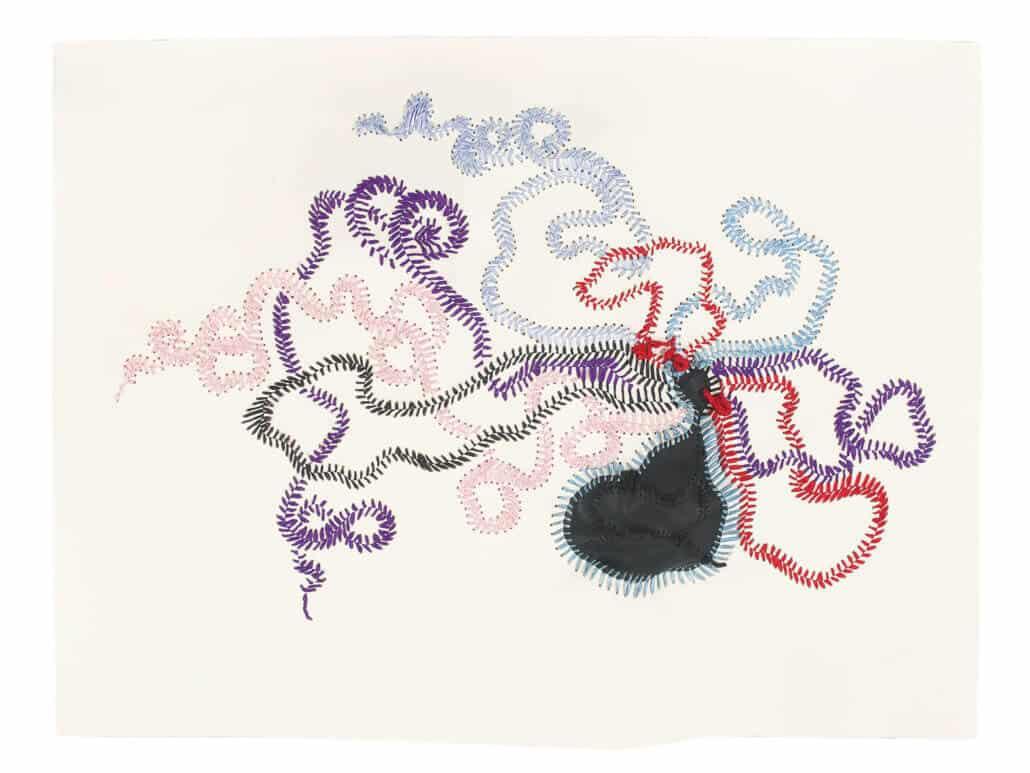 Nicholas Hlobo Umphokoqo lint en rubber op Fabriano-papier 71 bij 99 cm R 400 - 000