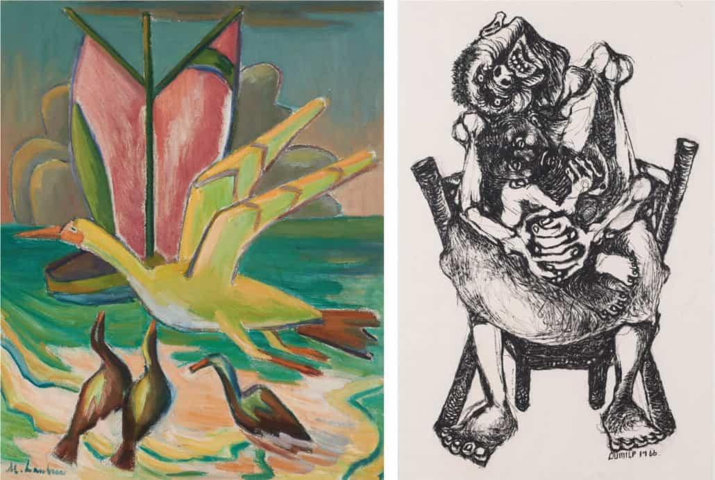 Maggie Laubser, Violet zeilen en vogels, 1964 | VERKOCHT VOOR: R682 800 Dumile Feni, Moeder en kind, 1966 | VERKOCHT VOOR: R625 900