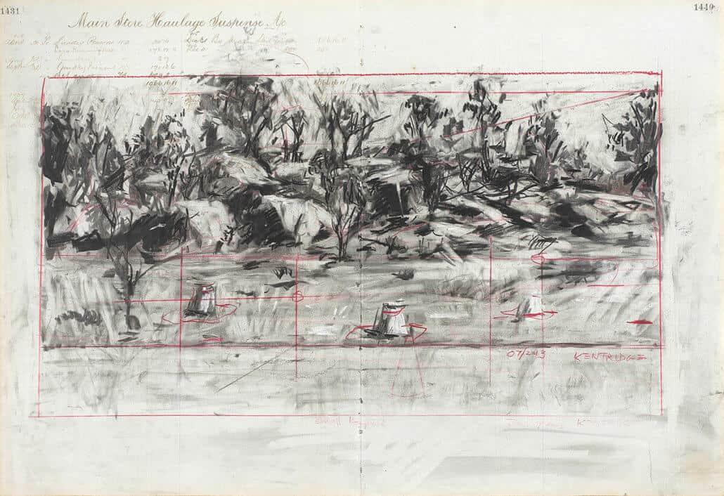 William Kentridge | Kleine Koppie 2 | Gemengde techniek op gevonden papier | 47 x 66,5cm | R 1 - 500