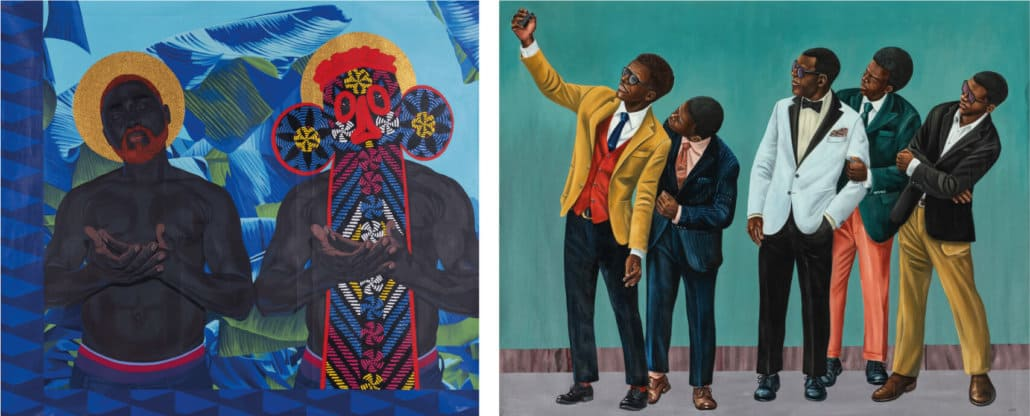 SOUTH AFRICAN AUCTION RECORDS Left: Marc Padeu, Untitled, 2019 | SOLD FOR: R125 180 Right: Zemba Luzamba, New Generation 3, 2019 | SOLD FOR: R204 840