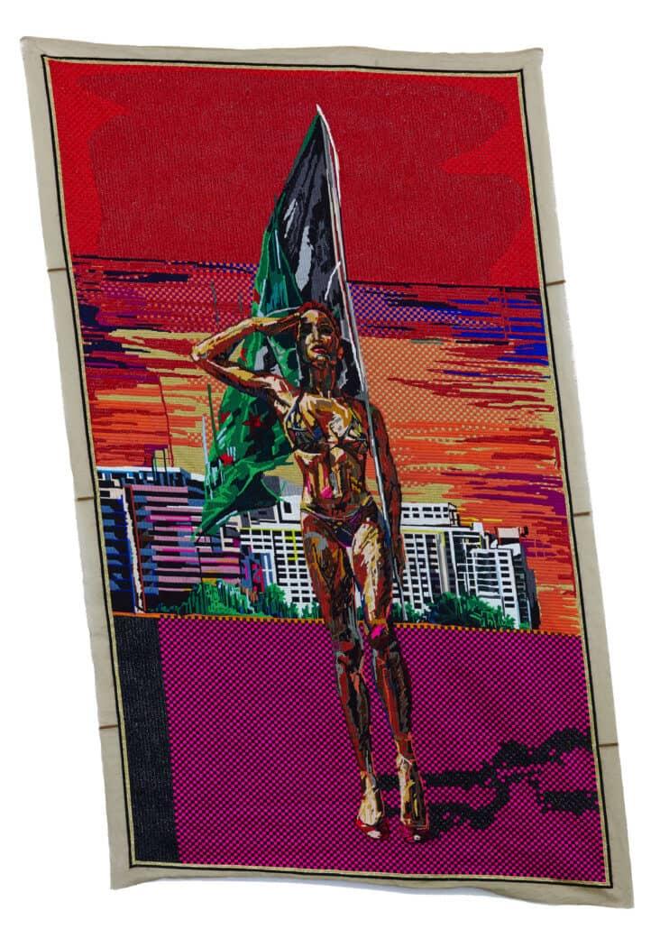 Athi-Patra Ruga | Geraakt door een engel | Wol en draad op tapijt canvas 300 x 177 cm | R 700 - 000