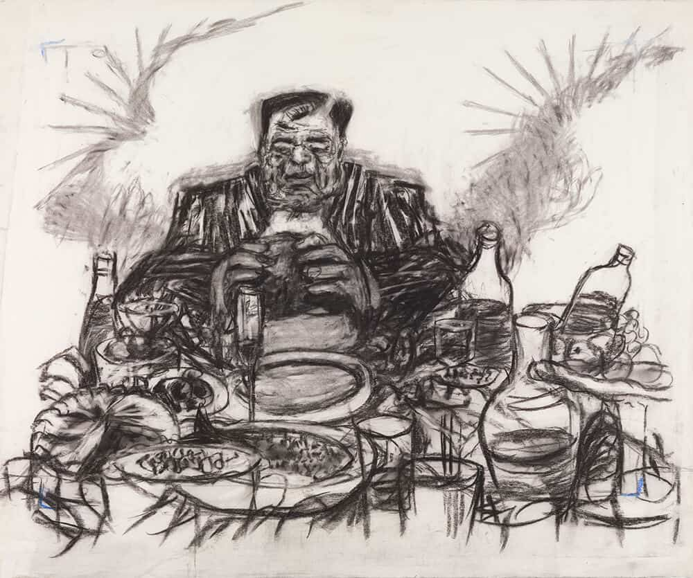 William Kentridge, Drawing from Johannesburg, 2nd Greatest City after Paris (Soho Eating), 1989.