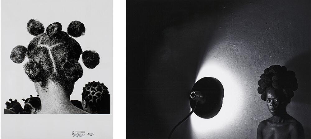 A SINISTRA: JD 'Okhai Ojeikere, Mkpuk Eba, 1974. DESTRA: Zanele Muholi, Sasa, Bleecker, New York, 2016.
