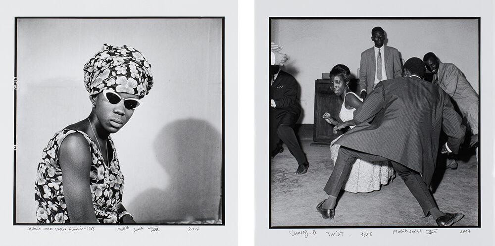 GAUCHE: Malick Sidibé, Avec mes verres fumés, 1963. DROITE: Malick Sidibé, Dansez le twist, 1965.