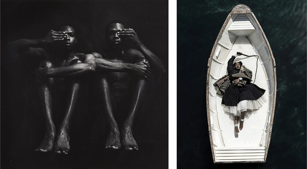 LEFT: Rotimi Fani-Kayode, Half Opened Eyes Twins, 1989. RIGHT: Mohau Modisakeng, Passage 8, 2017.
