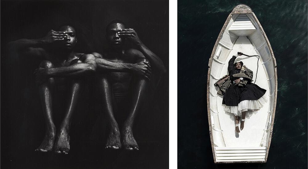 A SINISTRA: Rotimi Fani-Kayode, Half Opened Eyes Twins, 1989. A DESTRA: Mohau Modisakeng, Passaggio 8, 2017.