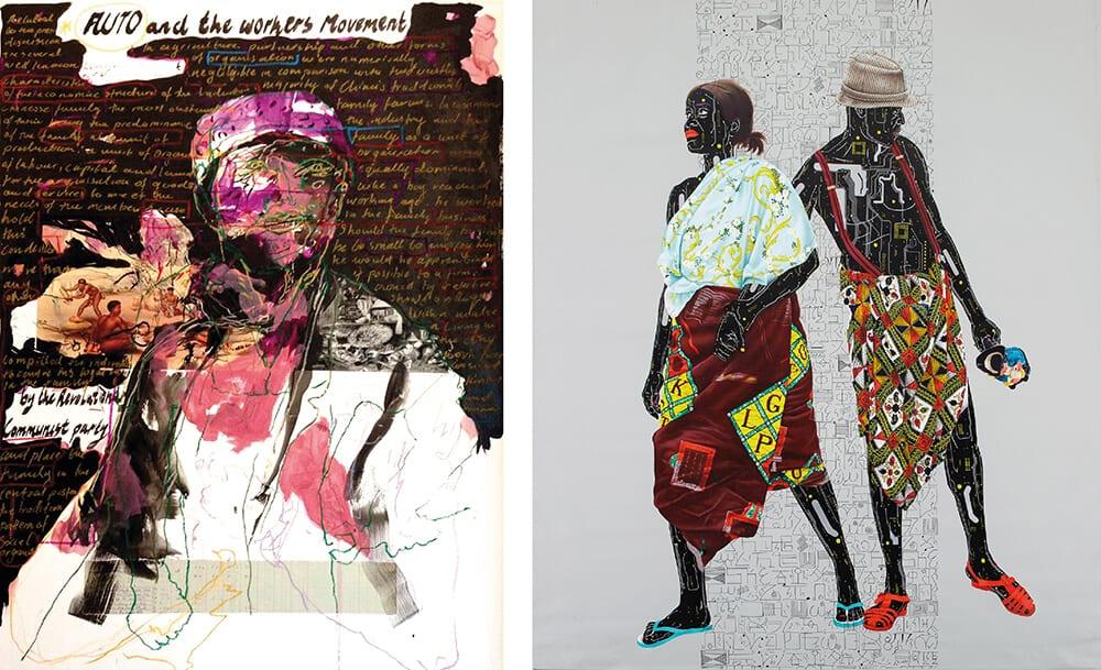 A SINISTRA: Kudzanai Chiurai, Untitled VIII (Auto and the Workers Movement), 2018. A DESTRA: Eddy Kamuanga, Untitled, 2018.