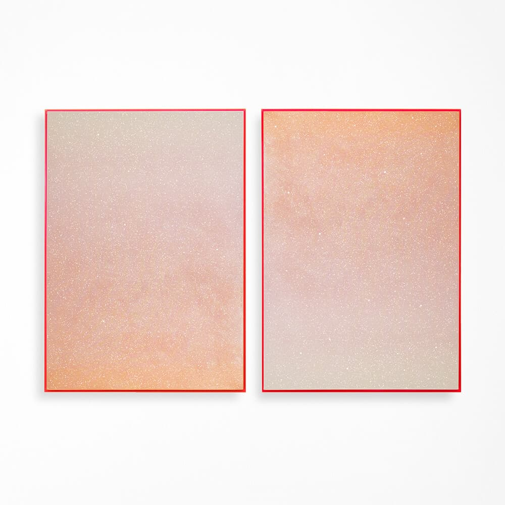 LEFT: Rosie Mudge, Is it better to burn up than to fade away?, 2020. Automotive paint and glitter glue on canvas, 102 x 72cm. RIGHT: Rosie Mudge, I didn't know I had a dream/I didn't know until I saw you, 2020. Automotive paint and glitter glue on canvas, 102 x 72cm.